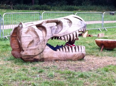 kids just couldn't resist this wooden t-rex skull