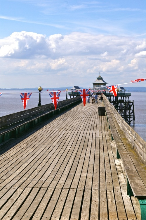 bunting on the pier