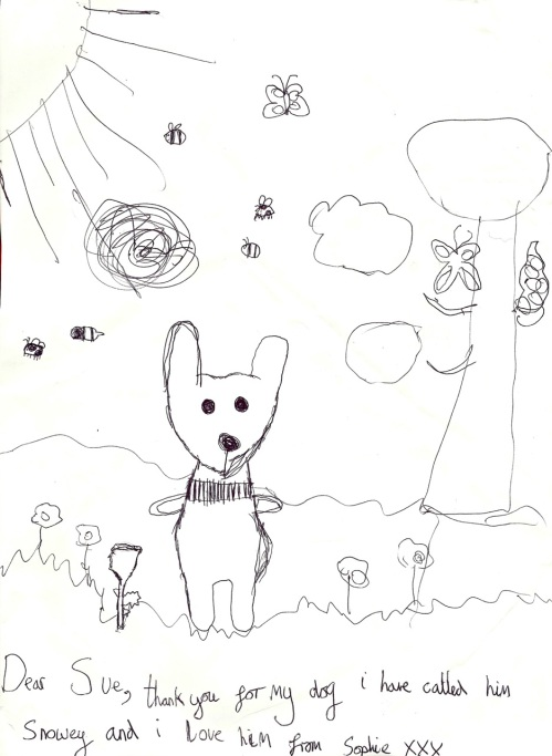 Sophie's beautiful drawing (thank you for the glove dog I gave her)