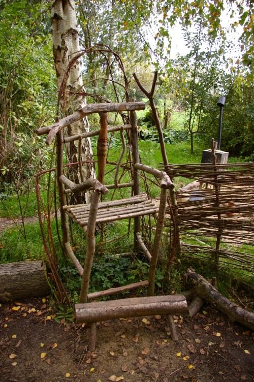 story teller's chair in the children's garden