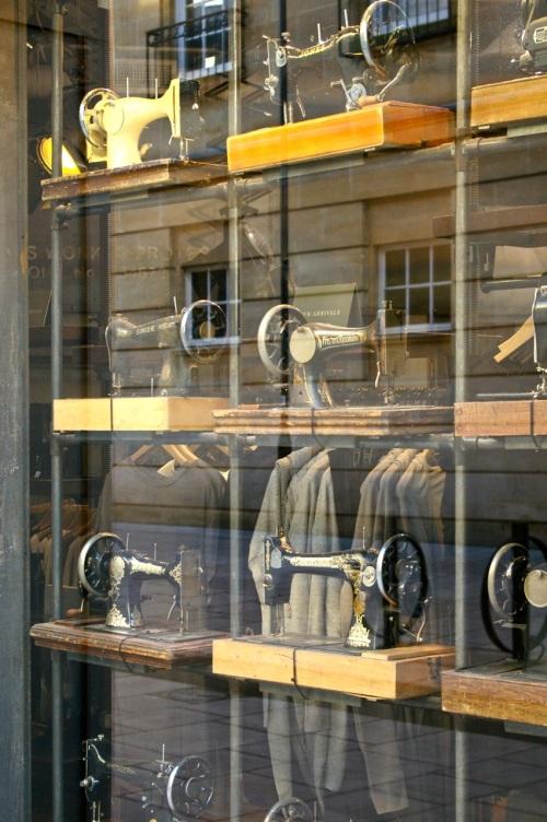 sewing machine window display
