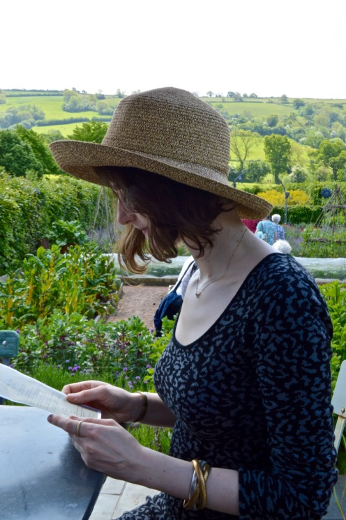 Clemmie looking far more elegant than me in my hat!